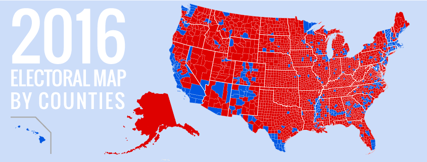 It Wasnt Rural Hicks Who Elected Trump The Suburbs Were And - Us map 2016 election red blue counties