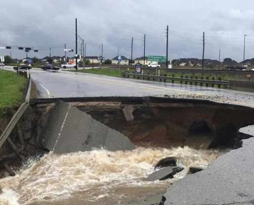 Collapsed road in Houston after Hurrican Harvey