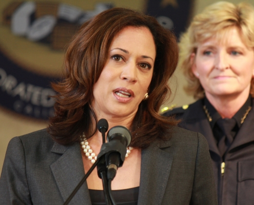 Senator Kamala Harris, touted as a Democratic Party leader on issues of immigration and race.