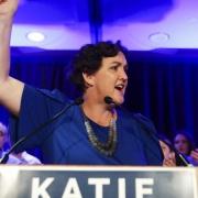Katie Porter speaks in Tustin, CA on election night.