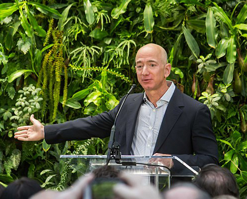 Jeff Bezos at Amazon Spheres Grand Opening in Seattle 2018