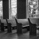 Church pews in Old Brick Church, Mooresville AL - by Marjorie Kaufman