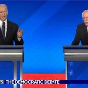Biden (left) and Sanders (right) in a Democratic Party debate