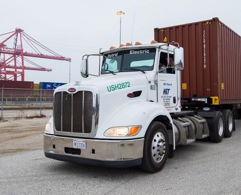 Hybrid electric truck at California port