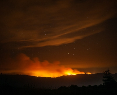 California summer fires, at Point Reyes