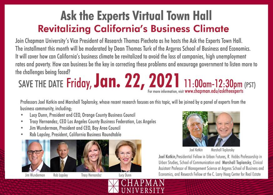 Virtual Town Hall: Revitalizing California Business Climate