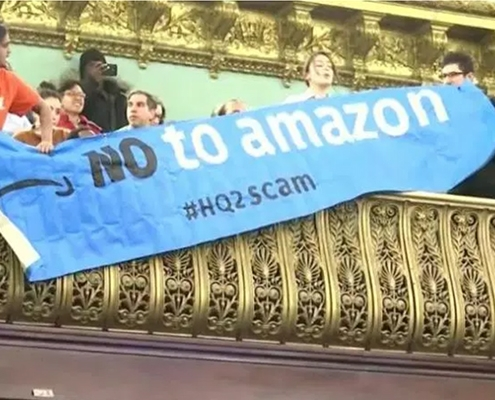 NYC protests Amazon HQ tax giveaway
