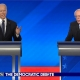 Biden (left) and Sanders (right) in a Democratic Party debate