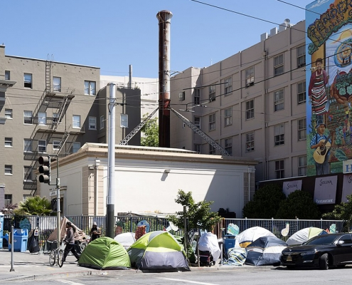 San Francisco in lockdown, with tents on a city street