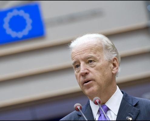 Then Vice-President Joe Biden speaks at a meeting of the European Parliament