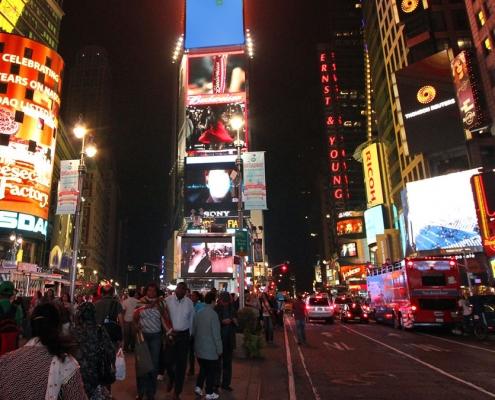 Times Square, crowded with people