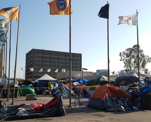 Homeless encampment in Orange County, California
