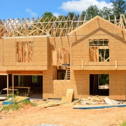 New home construction in suburban area